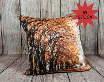 "Fall Leaf Decor Photo Pillow Case, 14x14"" Autumn Leaves Accent Pillows, Fall Rustic Decor, Home Decor Outdoorsman Gifts Handmade in Canada"