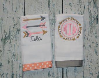 Personalized Girls Tribe Arrow Burp cloth Set,   2 Monogrammed Tribal Baby Burp Cloths
