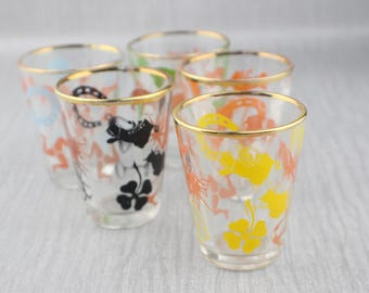 5 Glass Luck Themed Screen Printed 1950s Shot Drinking Glasses Clear with Gold Top Trim
