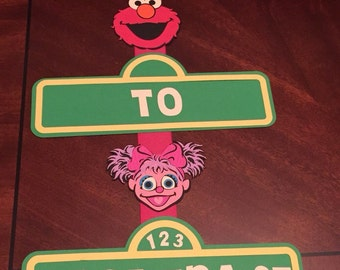 Birthday Banner for door - Seasame Street - Elmo and Abby