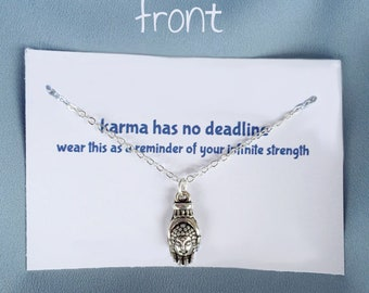 Silver Buddha Necklace Karma Wisdom Jewelry With Quote karma has no deadline 925 Silver Necklace Buddha In Palm Personalized Gifts