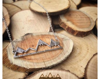 Mountain Necklace, Rocky Mountain Necklace, Mountains are calling, Silver Mountain Necklace, Outdoor Necklace