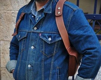 Oil tanned Leather shoulder Holster bag Handmade