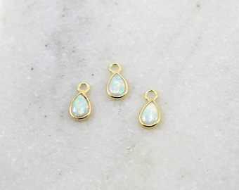 1 Piece Tiny Opal Teardrop Gold Vermeil Drop Bezel Charm 10mm x 5mm Gemstone Gold Rimmed Pendant