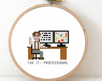 2 x IT professional Cross stitch pattern. Gift for System administrator gifts ICT consultant appreciation programmer gift ideas