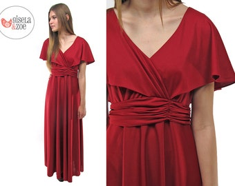 Vintage 70s Goddess Maxi Dress, Boho Dress, Burgundy Dress, Cape Sleeves, Butterfly Sleeve, 70s Party Dress Δ size: sm / md