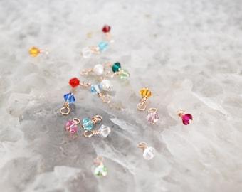 Add a tiny rose gold wired birthstone charm // rose gold wired Swarovski charm // birthstone charm // bicone charm // birthstone crystal