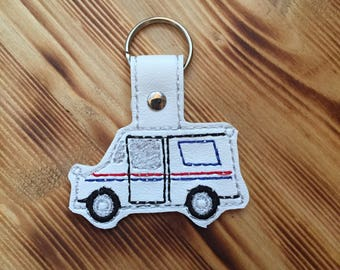 Mail Truck Key Fob | Mail Carrier Key Chain| Mailman Gift | Letter Carrier | Mail Lady Gift | Postal Worker | Grumman LLV | USPS