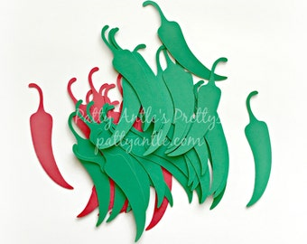 Chili Pepper Die Cuts, Jalapeno Pepper Die Cuts, Chili Pepper Confetti, Jalapeno Pepper Confetti, Peppers Die Cuts, Mexican Gift Tags