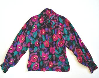 Vintage 1980s silk floral bow tie gathered sleeve blouse black