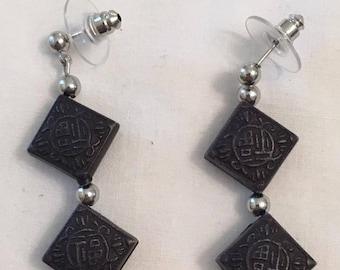 Black Resin Earrings (#140)