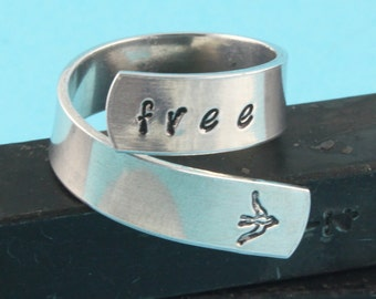 Free Bird Ring - Twist Ring - Wrap Ring - Silver Ring - Graduation Present - Free Spirit Ring - Adjustable Ring - Adventure Ring - Size 7