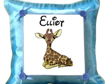 Blue Giraffe pillow personalized with name