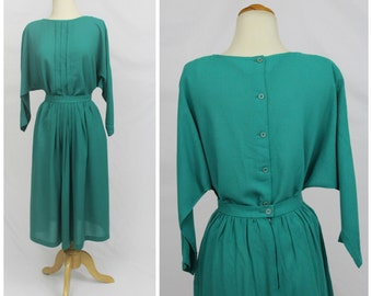 VINTAGE 70's Patty Woodward California Teal Jade Button Back Dolman Sleeve Dress