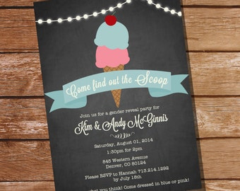 Vintage Ice-Cream Parlour Gender Reveal Party Invitation - Come find out the Scoop -  Instant Download and Editable File with Adobe Reader