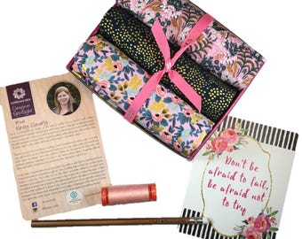 "Complete Modern Maker Box - Menagerie by Rifle Paper Company for Cotton + Steel - Box ""Pink and Black"" -  Quilters Cotton"