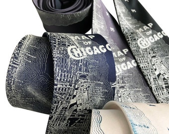 Chicago Map Silk Necktie. Vintage City Map Print Tie. Cubs fan gift, Windy City. Choose standard or narrow.