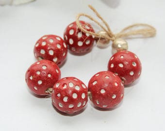 Red terracotta beads, african beads, red white beads, handmade beads, 14 mm