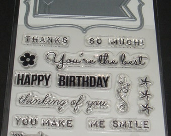Art C Stamp and Cut- Clear Stamps and Dies *Thinking of You* 17 pieces