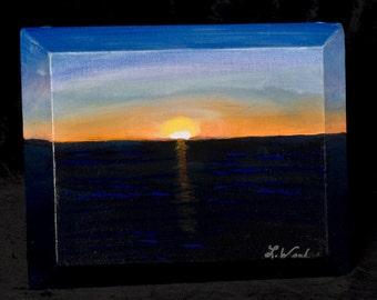 Reduced Original acrylic painting entitled Sunset in Cozumel