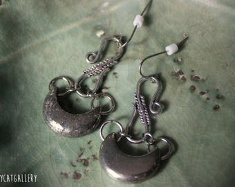 Pyrite Moon Earrings - Fools Moon - Silver - Statement Earrings - Fools Gold - Hypoallergenic - Surgical Steel Wires - Witchy - Goth