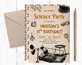Teenage Science Birthday Party Invitation, Science Printable Invitations, Science Digital Invitation, Adult Science Party Invites, Invite,