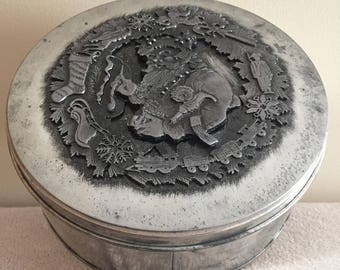 Metzke Pewter Christmas Themed Santa Claus Cookie Tin