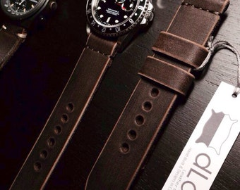 22mm Dark brown Handmade Genuine Leather vintage Watch Band / strap with stitch