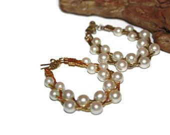 Vintage Bridal Earrings, Vintage Wedding Earrings, Gold and Pearl Earrings, Fancy Earrings, Faux Pearl Earrings, Spring Wedding Jewelry