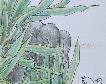 Cat original drawing - P014July2016