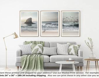 Set of 3 Prints, Coastal Art, Printable Art, Beach Photography, Ocean Wall Art, Beach Poster, Sea print, Three Piece Decor, Shore Photo