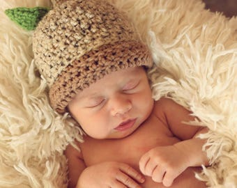 READY TO SHIP Crochet Acorn Hat, Size Newborn or 0-3 Months