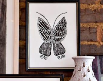 """butterfly linoleum block print - 9"""" x 12"""" wall art"""