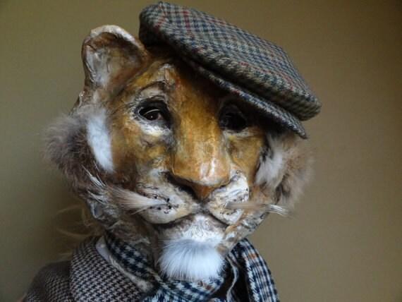 Animal head mask paper mache lion mask lion costume - Masque papier mache ...