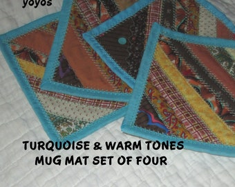 MUG MATS,Quilt, Patchwork, Set of Four,  Home  Décor, Holiday Décor,  Table Décor,  Hostess Gift, Gifts for Women, Turquoise. Gold