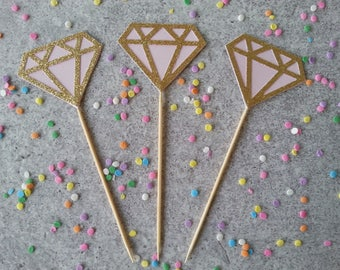 12 Gold glitter and pink diamond donut pick, pink, cupcake pick toppers, appetizer picks, engagement ring, bridal shower, toothpick, skewer