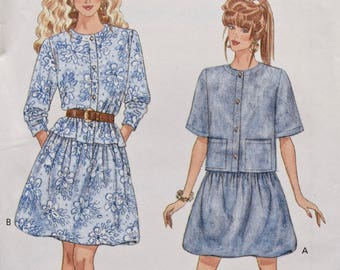 Butterick 6103 Vintage 1980's Sewing Pattern Misses' Loose Fitting Top Pattern Gathered Self Lined Skirt 80s Style Sz 12-14-16 UNCUT