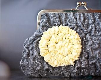 Fiber Art Clutch Purse Nuno Felted Charcoal Gray Yellow Mimosa Puckered OOAK dark neutral pastel