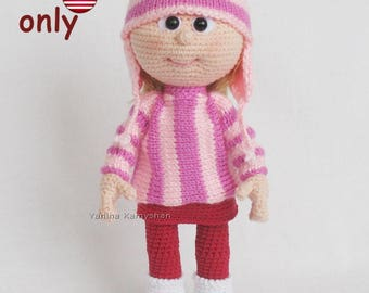Crochet and knitting pattern - Doll in sweater and hat amigurumi doll (English)