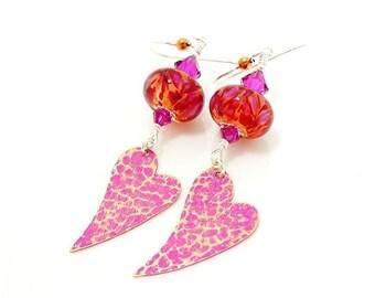 Pink Heart Earrings, Heart Earrings, Lampwork Earrings, Beadwork Earrings, Dangle Earrings, Long Drop Earrings, Valentine Earrings