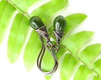 Fern green earrings - teardrop glass beads copper wire wrapped