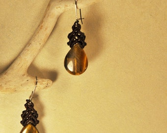 Drop macrame earrings with tiger eye stone,lovely handmade boho hand knotted earrings ,protection and good luck jewelry