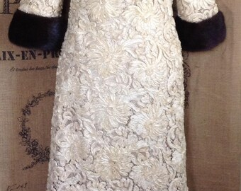 1960's gown ribbon lace mink trimmed full length gown