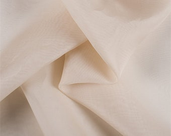 Beige Silk Organza, Fabric By The Yard