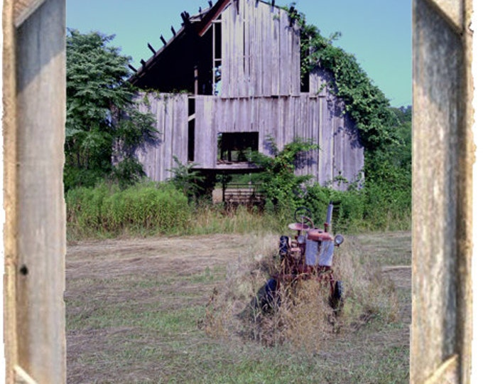 Old Barn with IH Farmall Cub photo taken by me, framed in Rustic, Weathered Wood Picture Frame 8x10