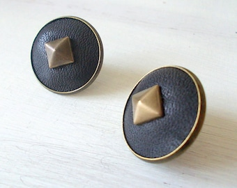 Glossy dark blue leather stud earrings, with brass pyramid stud, original and fashionable earrings, gift idea for her.