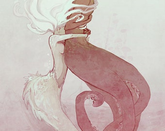 Tangled - a mermaid and octopus / cecaelia // romantic mythical fantasy print