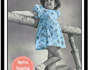 Little Girls Summer Dress 1940s Vintage Sewing Pattern - PDF Sewing Pattern - Instant Download