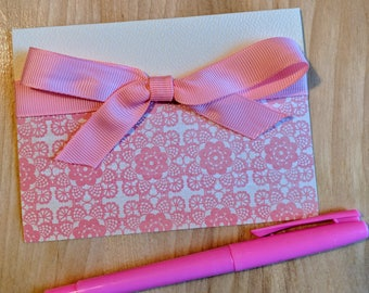 Pink lace - greeting card - bow - birthday - card - Invitation card - birthday card - invitation - Shower