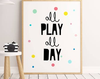 Playroom Wall Art,Let's Play, Nursery Decor, Playroom Decor, Playroom Sign, Playroom Decal, Playroom Art, Playroom Wall Decor, For Playroom